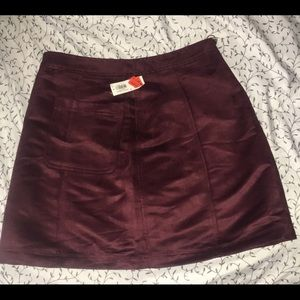 Burgundy A-line suede skirt